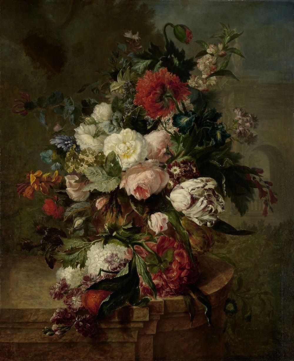 Harmanus Uppink - Stilleven met bloemen 60x90cm, Rijksmuseum, print op canvas, premium print, oude m