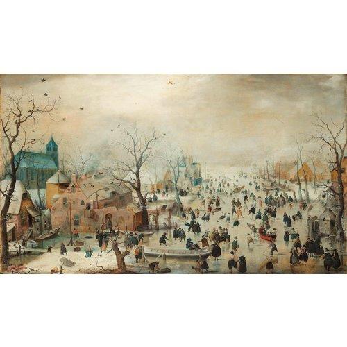 Hendrick Avercamp - Winterlandschap met schaatsers , Rijksmuseum, print op canvas, premium print 120x70cm