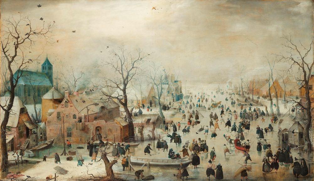 Hendrick Avercamp - Winterlandschap met schaatsers , Rijksmuseum, print op canvas, premium print 120