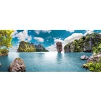 Karo-art Schilderij - Uitzicht Thailand, blauw/groen, premium print, print op canvas
