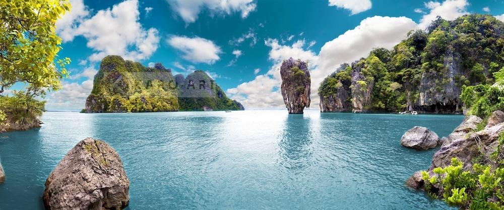 Karo-art Schilderij - Uitzicht Thailand, blauw/groen, 2 maten , premium print, print op canvas