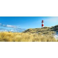 Karo-art Schilderij - Vuurtoren, blauw/groen/rood, 2 maten , print op canvas, premium print