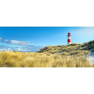 Karo-art Schilderij - Vuurtoren, blauw/groen/rood, print op canvas, premium print