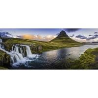 Karo-art Schilderij - Panorama waterval, groen/blauw, print op canvas, premium print