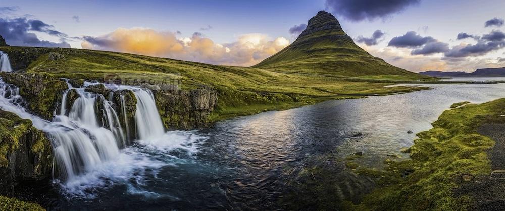 Schilderij - Panorama waterval, groen/blauw, 2 maten , print op canvas, premium print