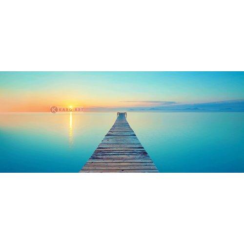 Karo-art Schilderij - Verlaten pier, blauw, bruin, , print op canvas, premium print