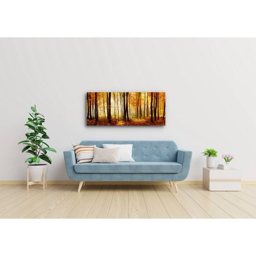 Karo-art Schilderij - Bos in de herfst, print op canvas, premium print