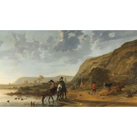 Karo-art Aelbert Cuyp - Rivierlandschap met ruiters, Rijksmuseum, Print op canvas, premium print, 90x60cm