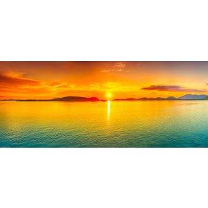 Karo-art Schilderij - Zonsondergang, panorama, geel,blauw