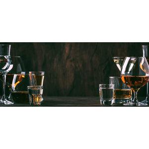 Karo-art Schilderij - Drank op tafel, mannenavond ,Bruin wit , 2 maten , Wanddecoratie