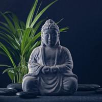 Karo-art Schilderij - Boeddha beeld, inspiratie, grijs/groen