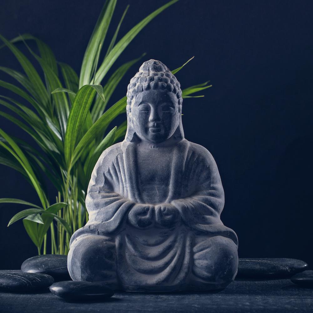 Schilderij - Boeddha beeld, inspiratie, grijs/groen ,3 maten , Premium Print
