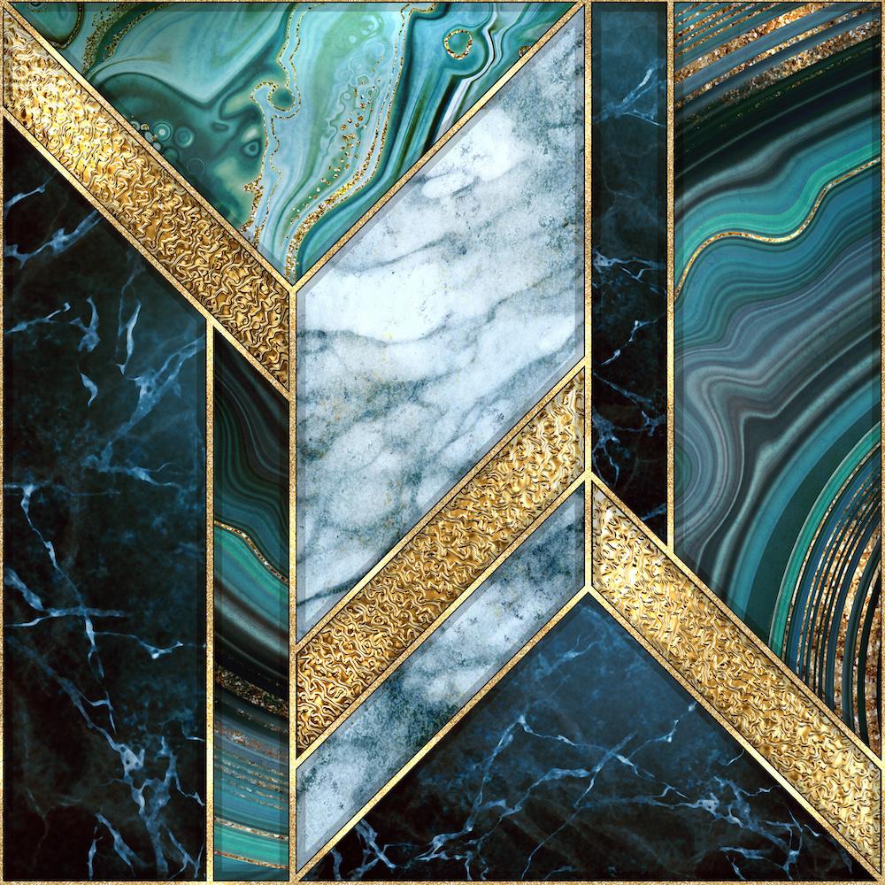 Karo-art Schilderij - In het wit, goud en groen, marmer, 3 maten , canvas , Wanddecoratie