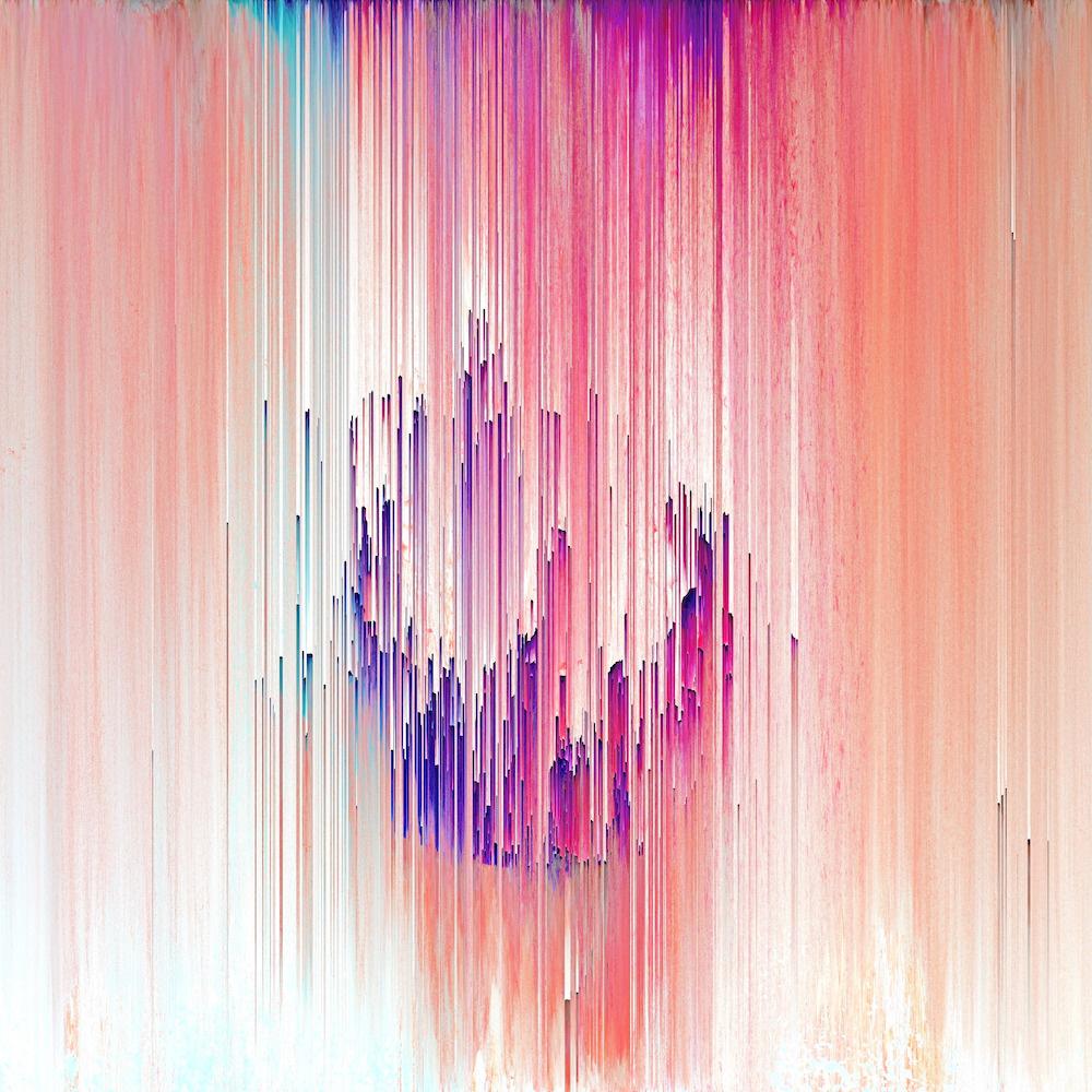 Schilderij - Abstract digitaal, roze, paars ,3 maten , Wanddecoratie