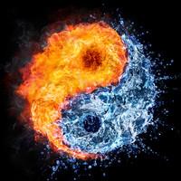 Karo-art Schilderij - Ying en Yang, water en vuur, blauw,oranje , 3 maten , Wanddecoratie