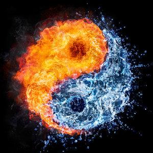 Karo-art Schilderij - Ying en Yang, water en vuur, blauw,oranje