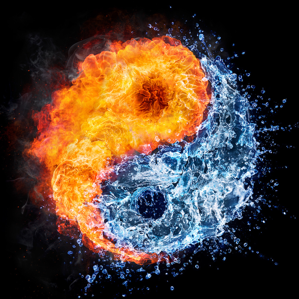 Schilderij - Ying en Yang, water en vuur, blauw,oranje , 3 maten , Wanddecoratie