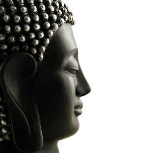 Karo-art Schilderij - Boeddha profiel ,Zwart wit , 3 maten , Premium Print