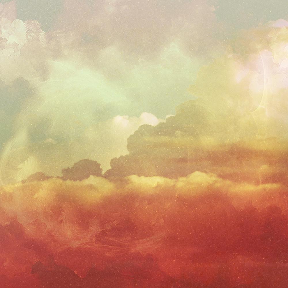 Karo-art Schilderij - Abstracte wolken, , Oranje Geel , 3 maten , print op canvas , Wanddecoratie