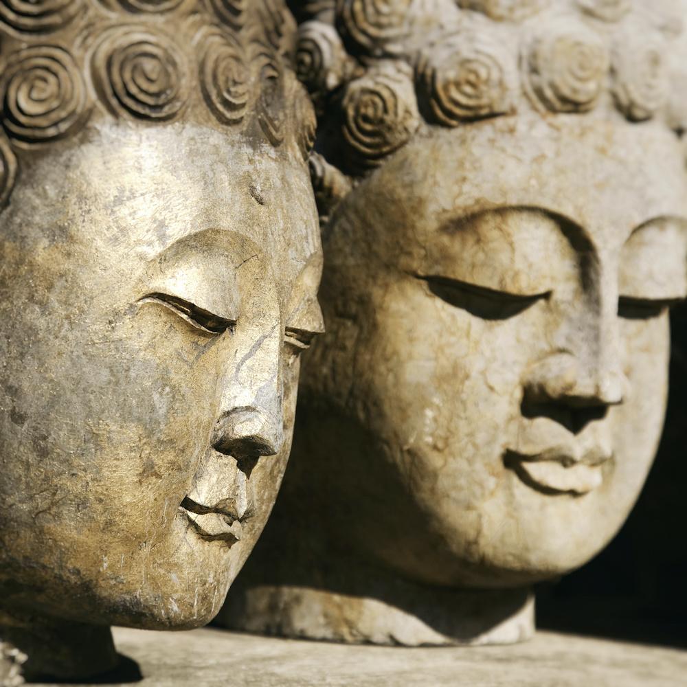 Schilderij - Boeddha hoofden , Beige zwart , 3 maten , Wanddecoratie