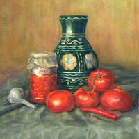 Karo-art Schilderij - Aquarel stilleven (Print op canvas) , Multikleur , 3 maten , Premium Print