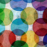 Karo-art Schilderij - Abstracte cirkels (print op canvas) , Multikleur , 3 maten , Wanddecoratie