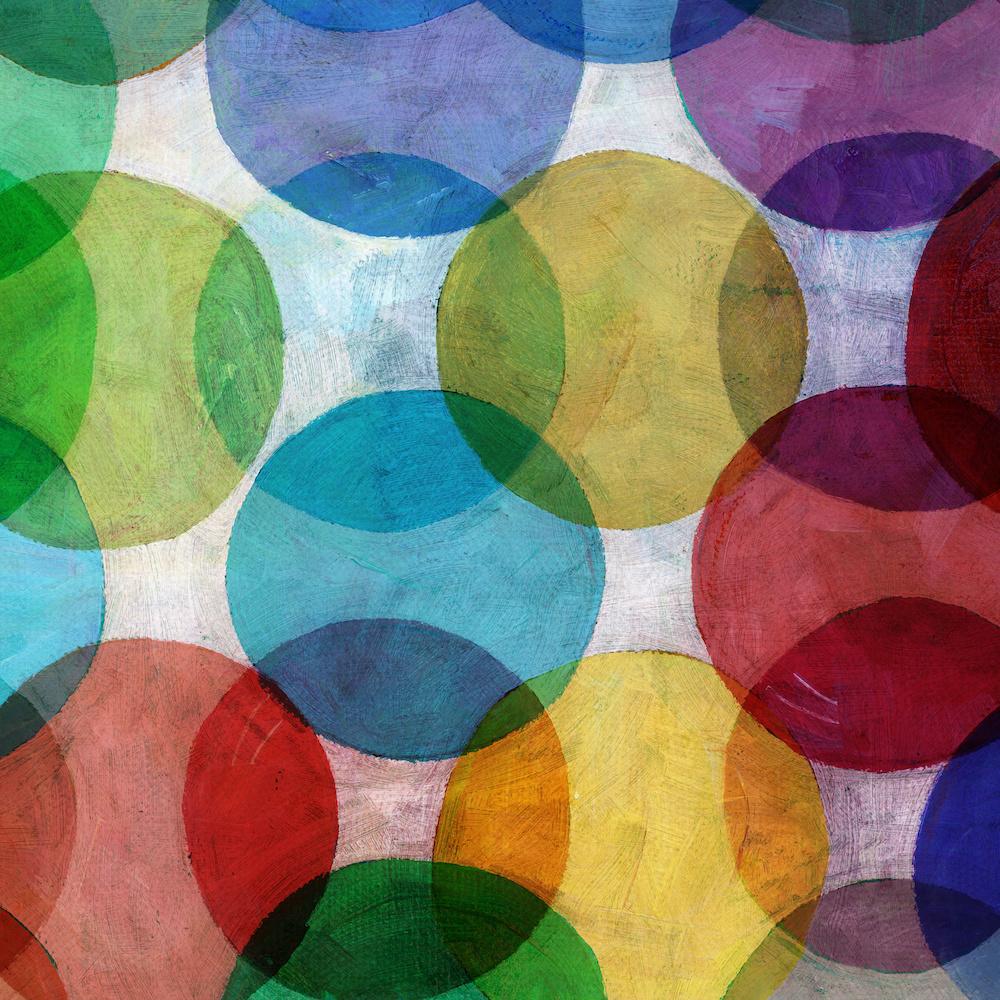Schilderij - Abstracte cirkels (print op canvas) , Multikleur , 3 maten , Wanddecoratie