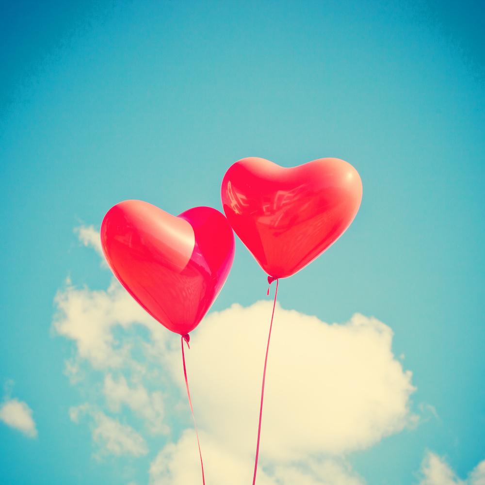 Schilderij - Ballonnen hart, liefde, rood, blauw