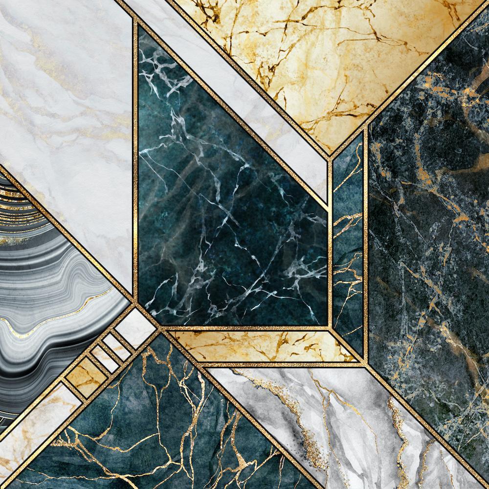 Schilderij - Marmer - Grijs/Goud/Groen ,3 maten , Wanddecoratie