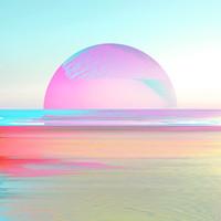 Karo-art Schilderij - Digitale zonsondergang, paars, blauw, groen , 3 maten , Premium Print