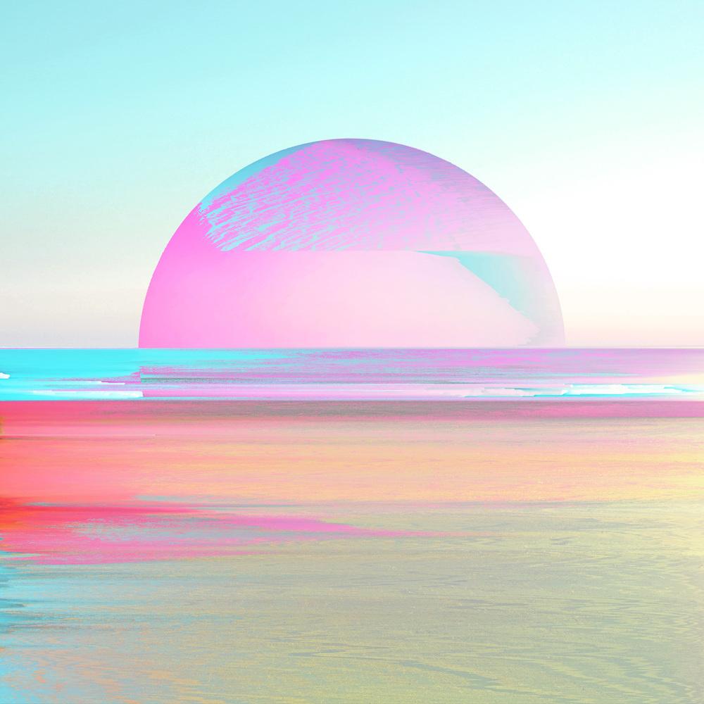 Schilderij - Digitale zonsondergang, paars, blauw, groen