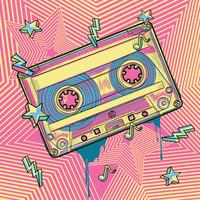 Karo-art Schilderij - Cassette bandje, retro, roze,geel , 3 maten ,Premium Print