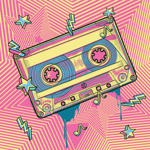 Karo-art Schilderij - Cassette bandje, retro, roze,geel