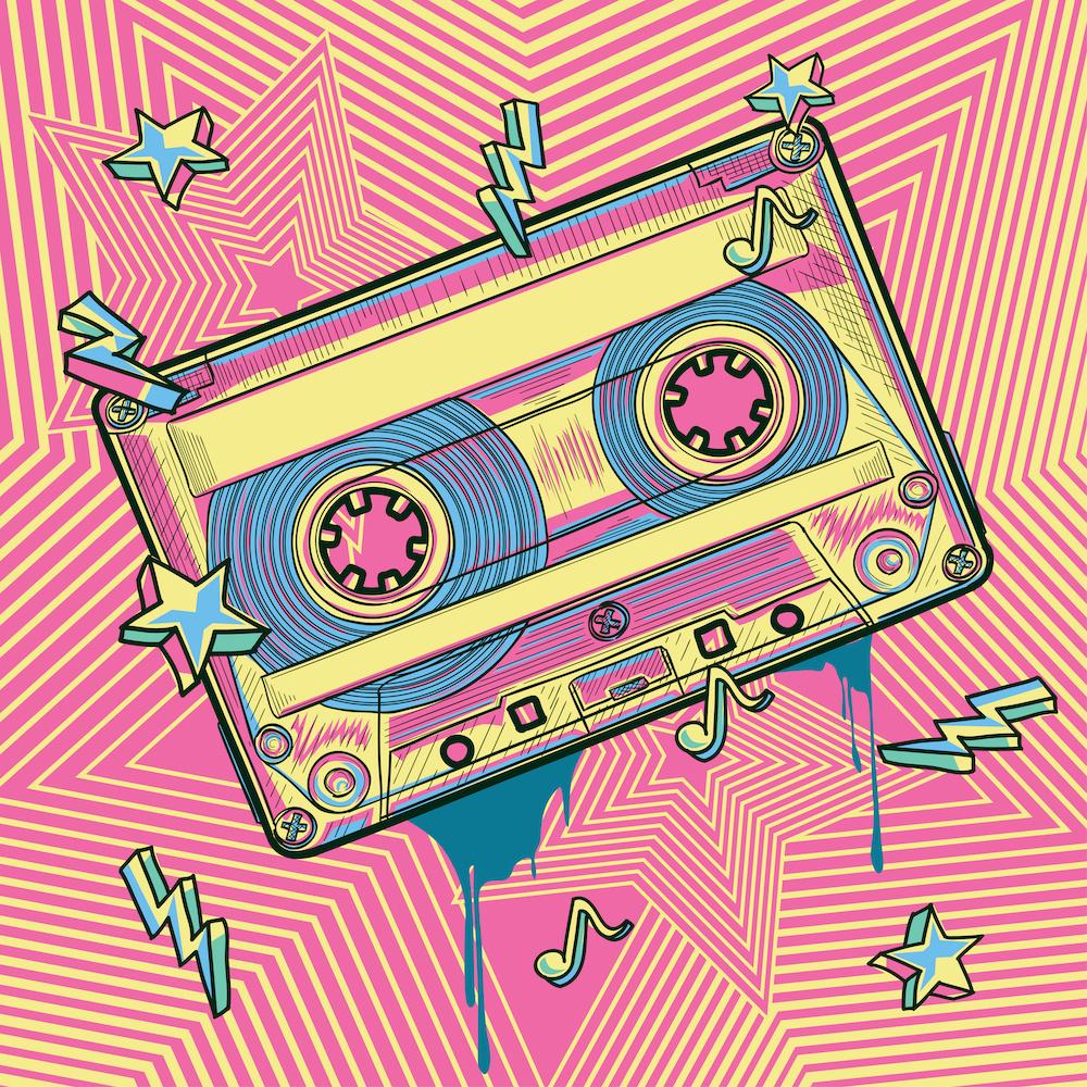 Schilderij - Cassette bandje, retro, roze,geel