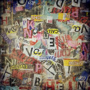 Karo-art Schilderij - Grunge textuur, geplakt op muur, multikleur
