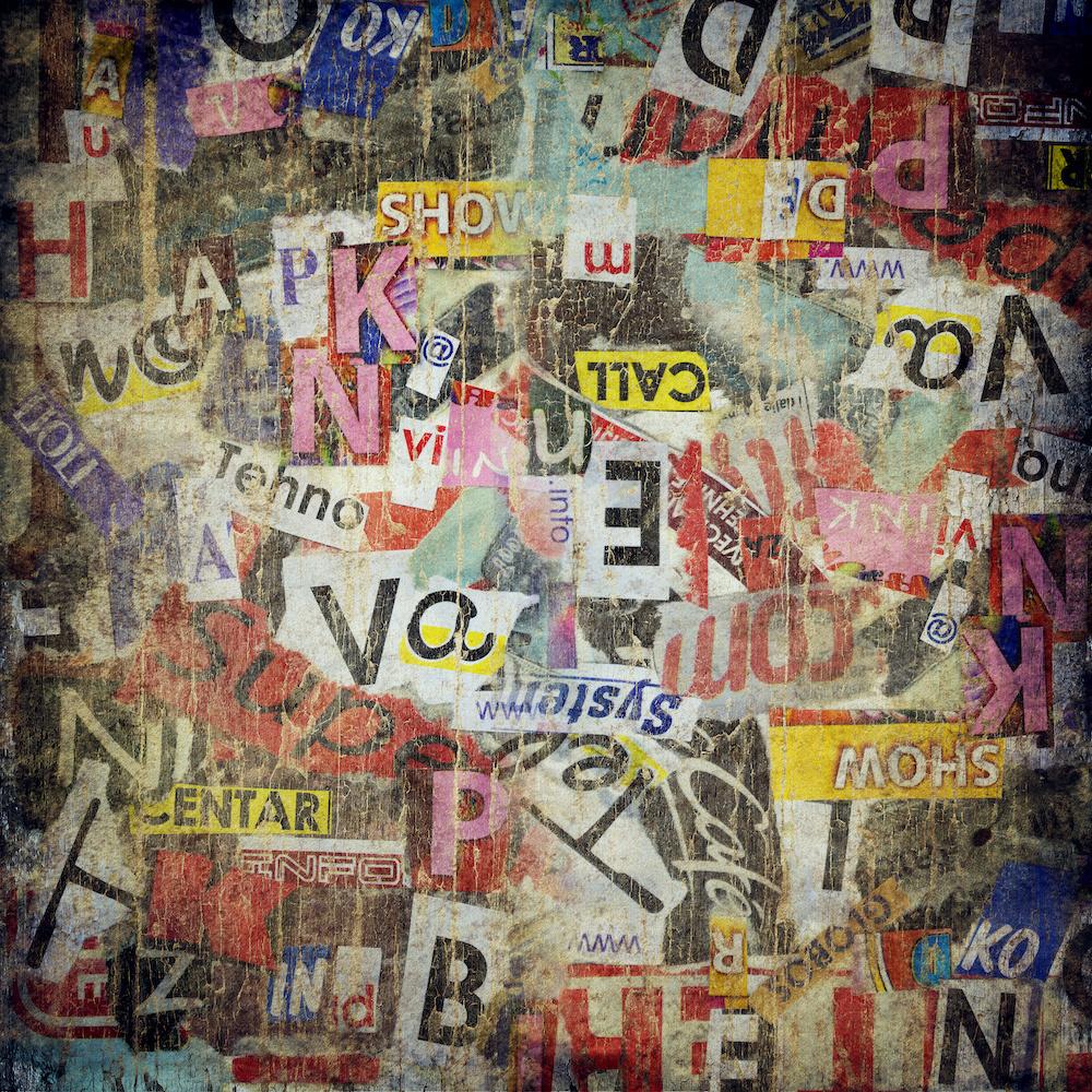 Schilderij - Grunge textuur, geplakt op muur, multikleur