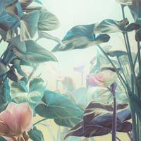 Karo-art Schilderij - Magische tuin, print op canvas, groen