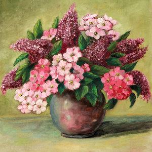 Karo-art Schilderij - Roze bloemenvaas stilleven (print op canvas)