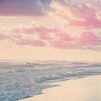 Karo-art Schilderij - Noordzee in pastel kleuren, Roze Blauw wit , 3 maten , premium print