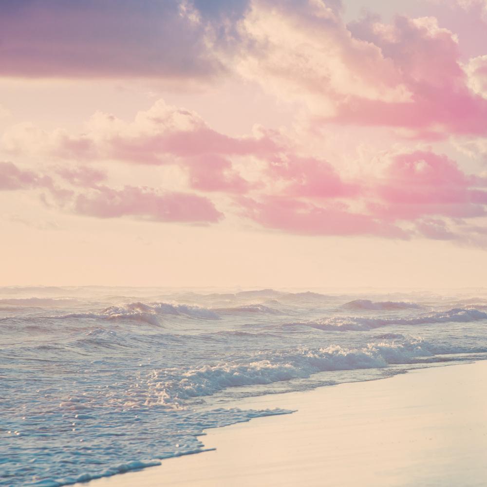 Schilderij - Noordzee in pastel kleuren, premium print