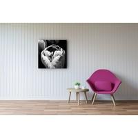 Karo-art Schilderij - Tulp Zwart-Wit, premium print