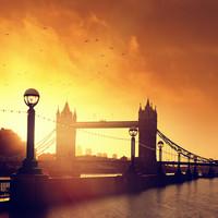 Karo-art Schilderij - Tower Bridge bij zonsondergang, Londen , Oranje zwart , 3 maten , Wanddecoratie
