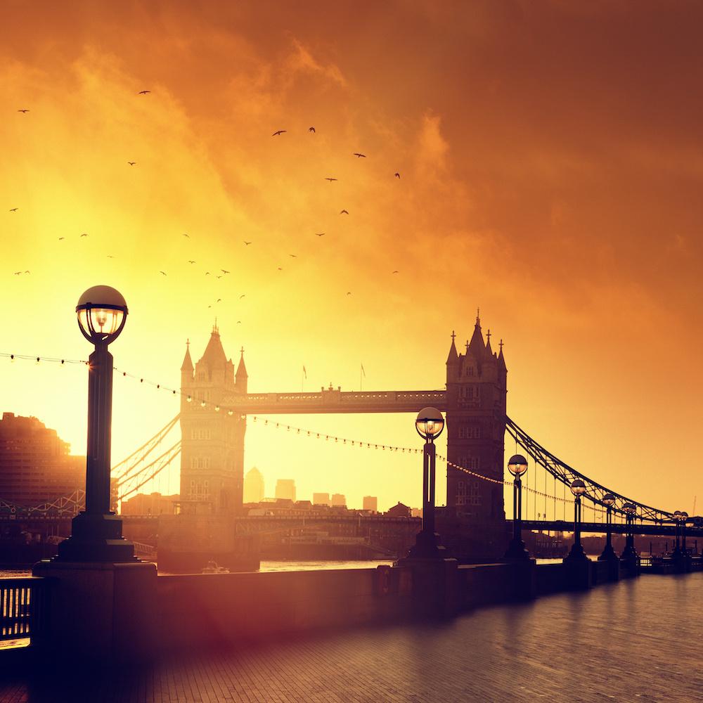 Schilderij - Tower Bridge bij zonsondergang, Londen