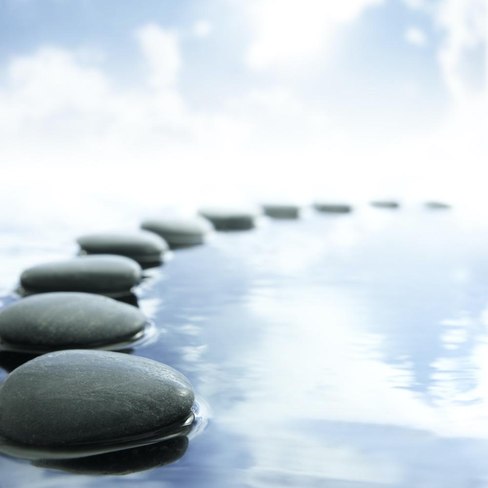 Schilderij - Zen pad in water, Inspiratie