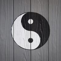 Karo-art Schilderij - Yin en Yang op hout (print op canvas) zwart, wit, grijs , 3 maten , Wanddecoratie