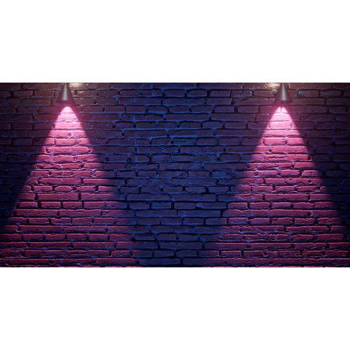 Karo-art Fotobehang - Neon bakstenen V