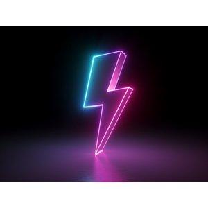 Karo-art Fotobehang - Neon Bliksem 3D