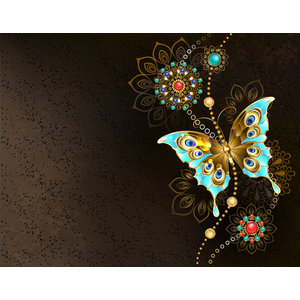 Karo-art Fotobehang - Vlinder op bruine achtergrond