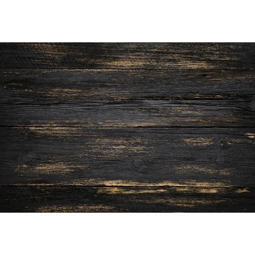 Karo-art Fotobehang - Donker geverfde houten muur