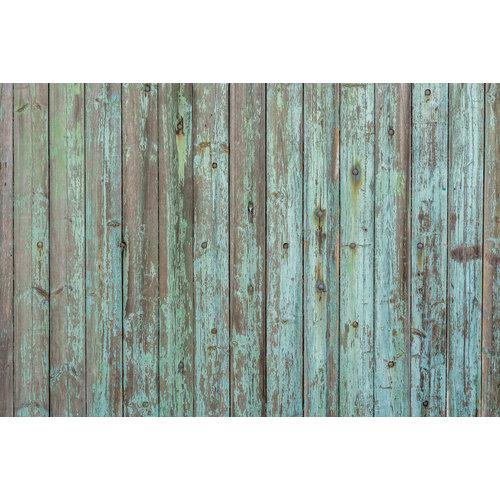 Karo-art Fotobehang - Houten planken verweerd verf
